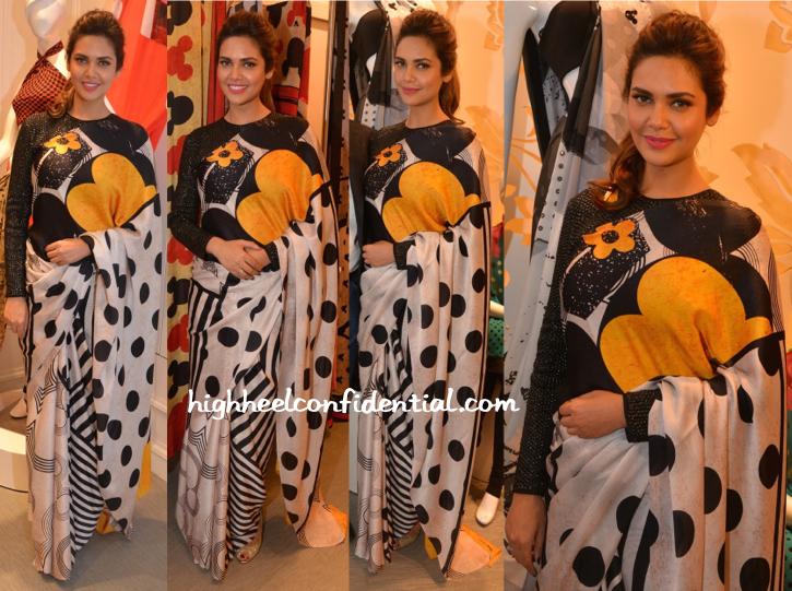 Esha Gupta In Masaba For Satya Paul Sari At The Collection Launch-2