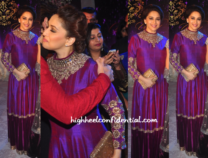 Madhuri Dixit In Manish Malhotra And Jimmy Choo At Shirin Morani-Uday Singh Sangeet Ceremony