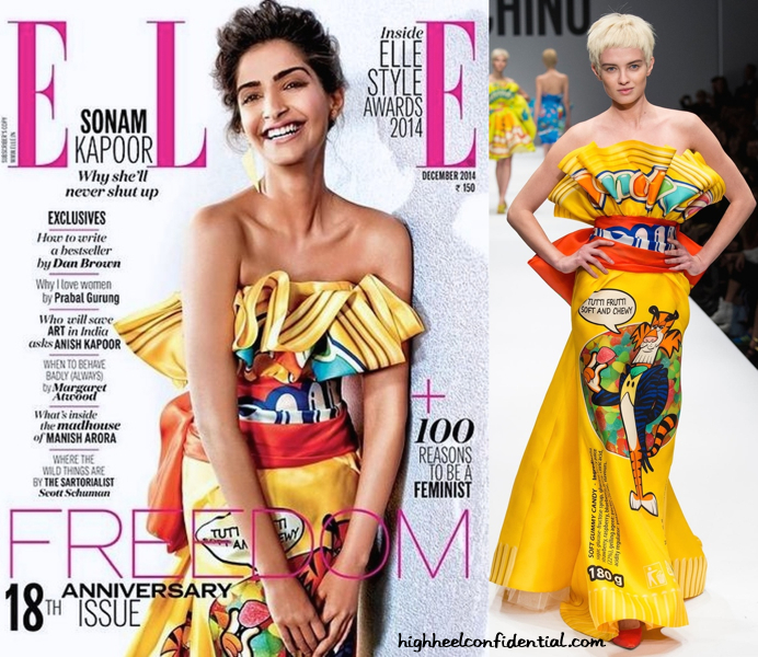 (Un)Covered- Sonam Kapoor Covers Elle Dec 2014 In Moschino
