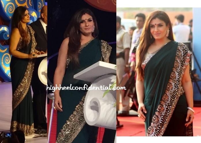 raveena-tandon-manish-malhotra-iffi-2014-goa-opening