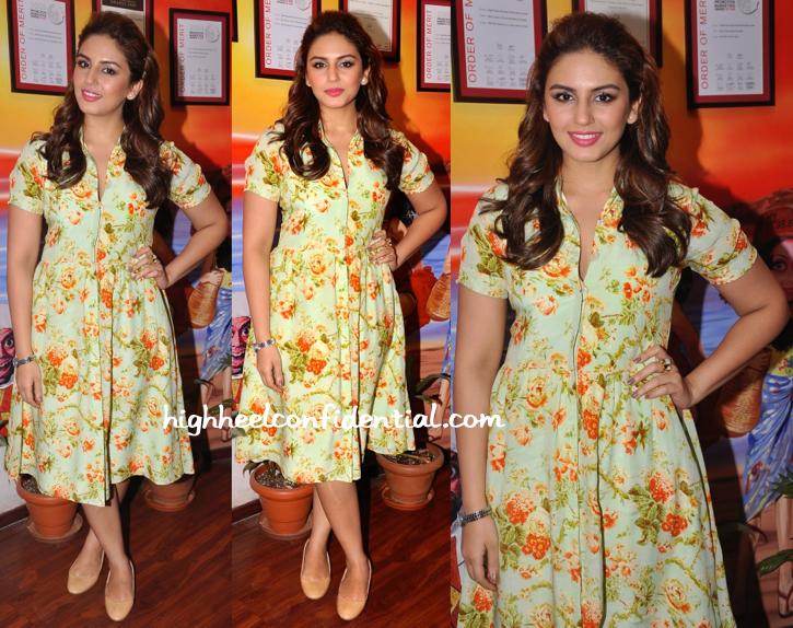Huma Qureshi Wears Nisha Sainani To At 'Badlapur' Promotions
