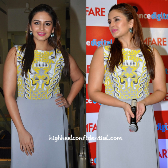Huma Qureshi Wears Pankaj & Nidhi To Filmfare Calendar Launch-2