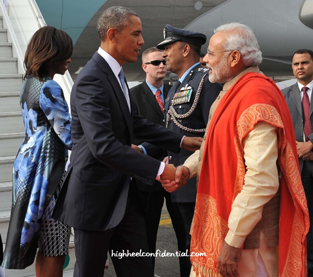 Michelle Obama Wears Bibhu Mohapatra As She Arrives In India-3