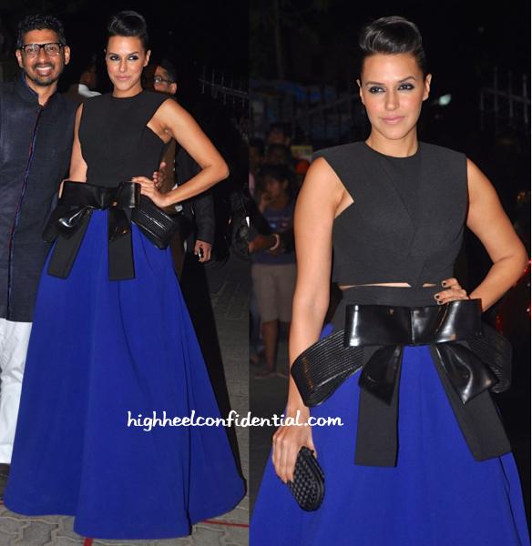 Neha Dhupia In Alpana & Neeraj At Filmfare Awards 2015