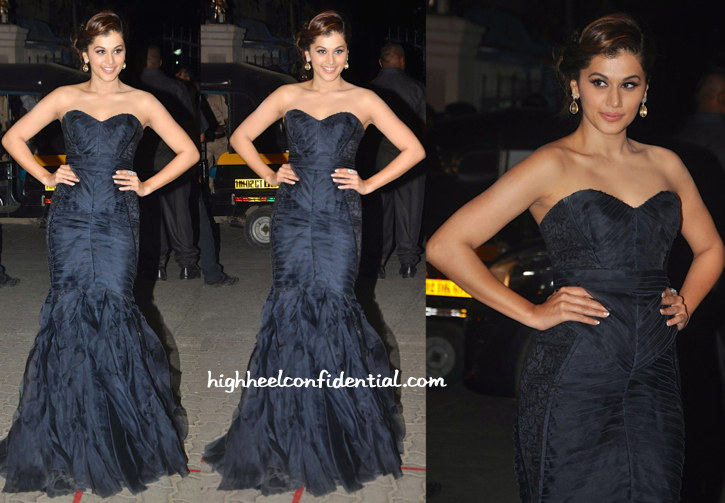 Taapsee Pannu in Theia Couture & Roots Atelier at Filmfare Awards 2015