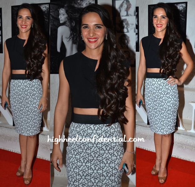 Tara Sharma Saluja In Selvage At Dabboo Ratnani's 2015 Calendar Launch