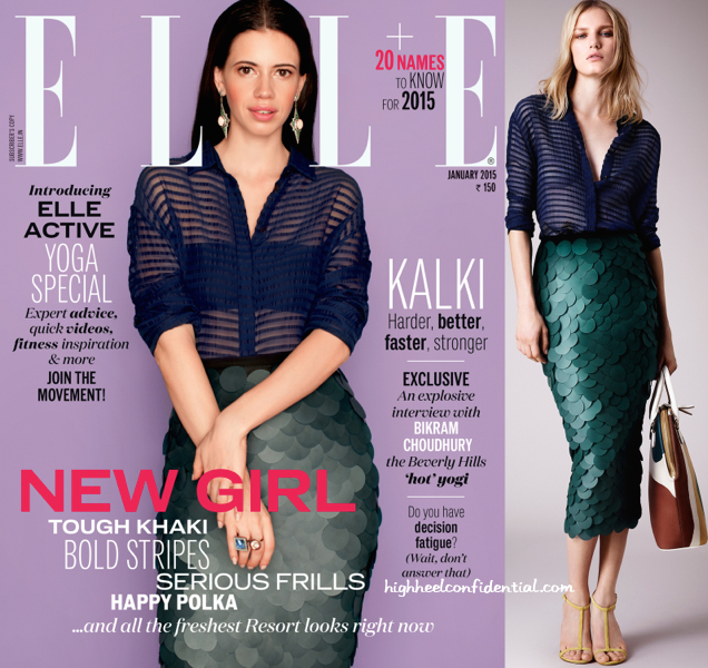 kalki koechlin in burberry on elle jan 2014 cover