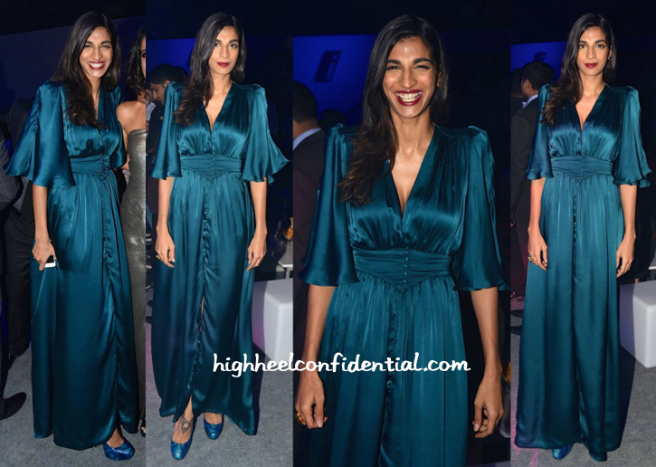 Anushka Manchanda In Turquoise & Gold At BMW I8 Launch