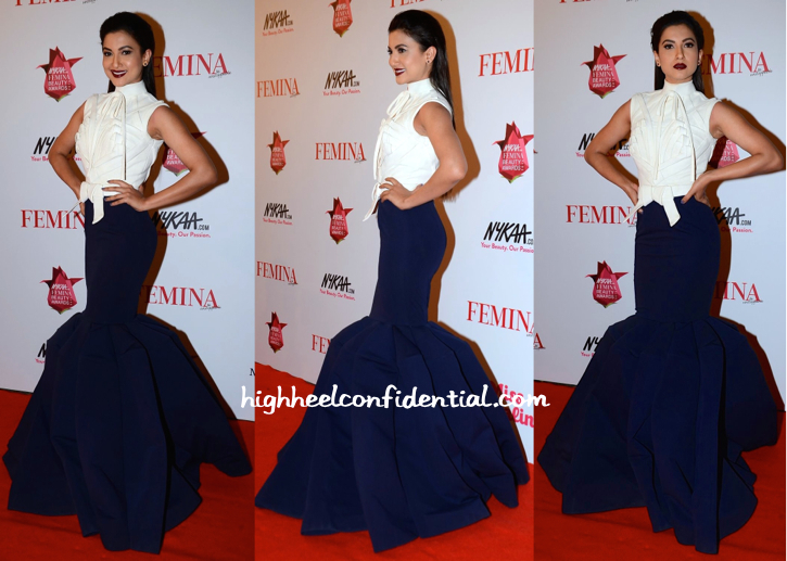 Gauahar Khan In Alpana And Neeraj At Femina Beauty Awards 2015-1