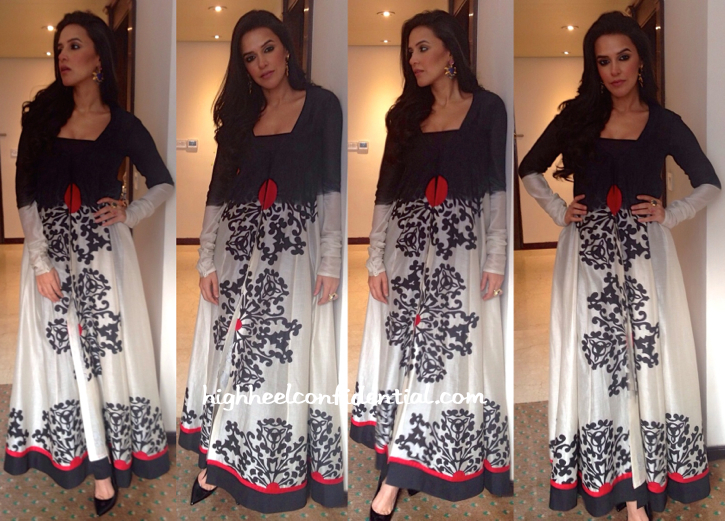 Neha Dhupia Wears Taika By Poonam Bhagat To A Store Launch In Kolkata-1