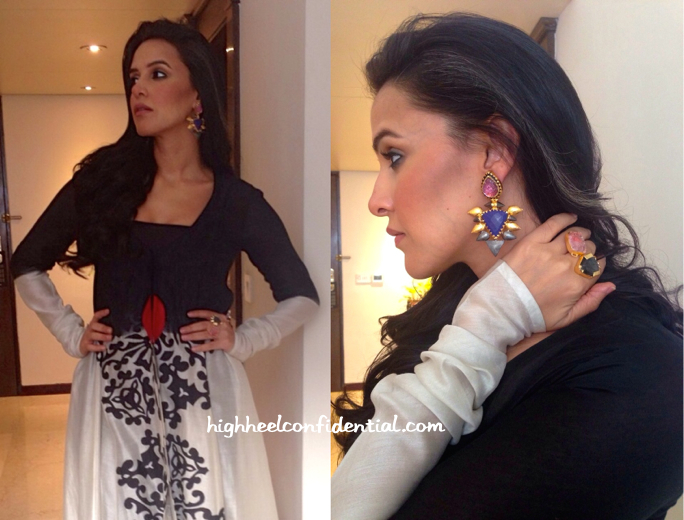 Neha Dhupia Wears Taika By Poonam Bhagat To A Store Launch In Kolkata-2