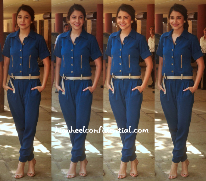 anushka sharma-red fm-nh10 promotion-poonam gupta jumpsuit-1