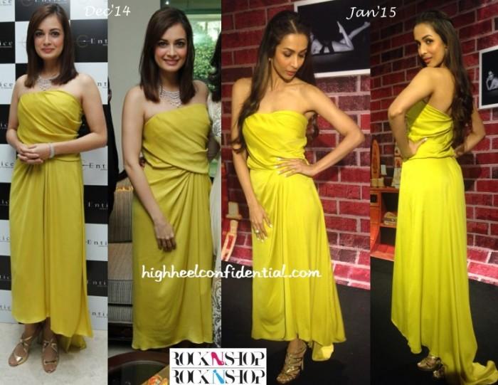dia-mirza-halston-heritage-yellow-malaika-entice-dolly-doli