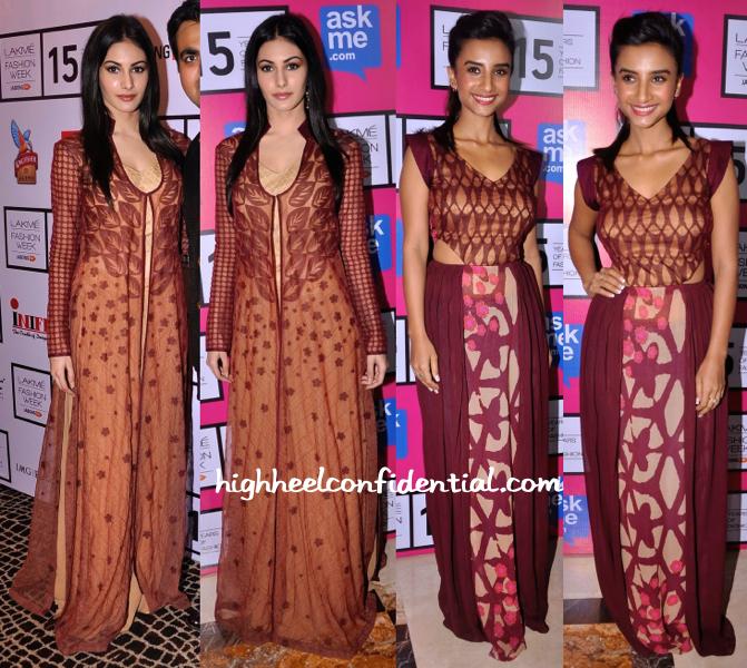 Amyra Dastur And Patralekhaa In Kunal Anil Tanna At Lakme Fashion Week 2015-1
