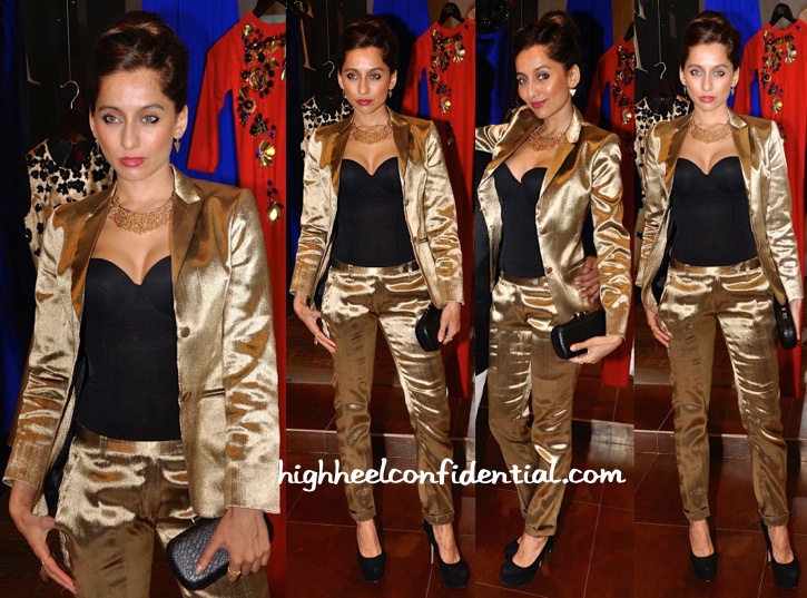 Anusha Dandekar In Harsh Harsh At The Designer's Spring 15 Collection Launch