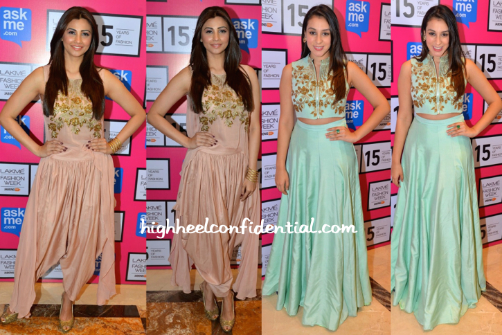 Daisy Shah And Anindita Nayar Wears SVA By Sonam And Paras Modi To The Designers' Show At LFW
