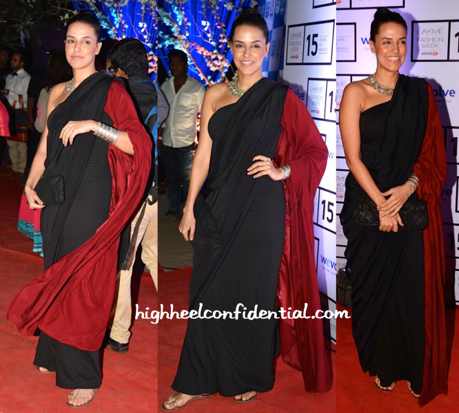 Neha Dhupia Wears DRVV And Amrapali To Manish Malhotra Resort 2015 Presentation-1