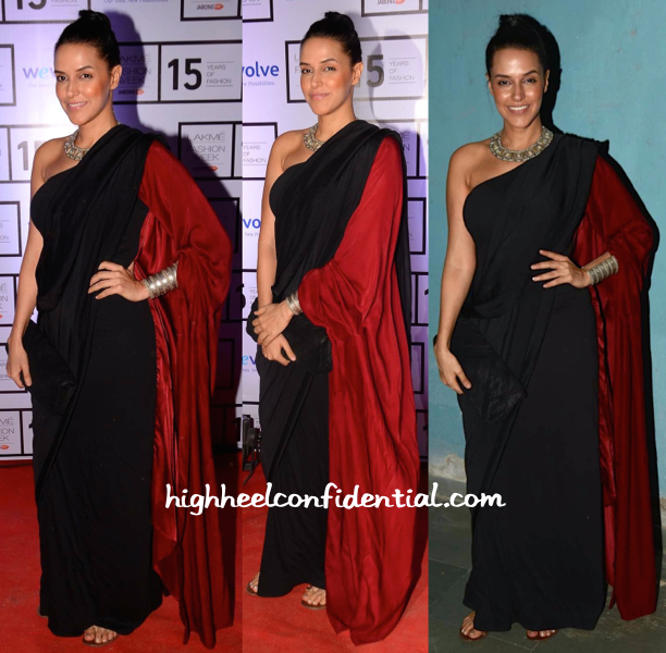 Neha Dhupia Wears DRVV And Amrapali To Manish Malhotra Resort 2015 Presentation-2
