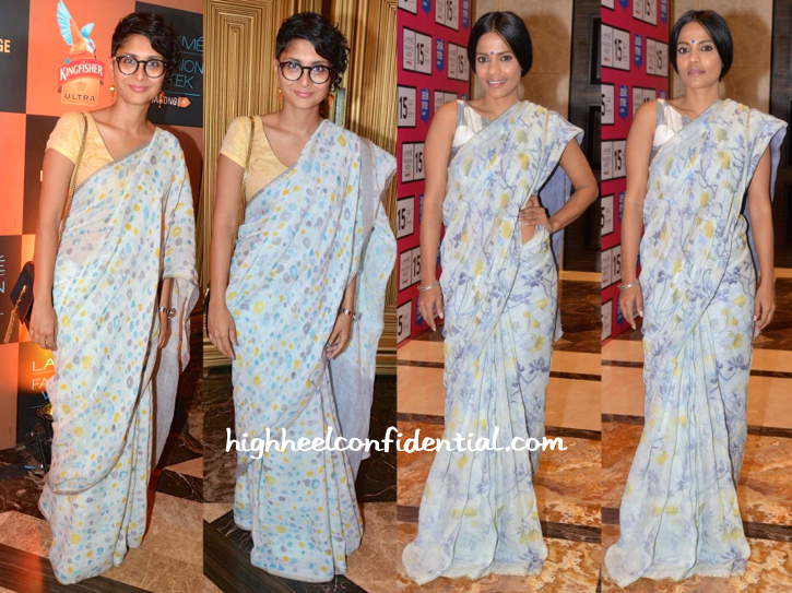 Priyanka Bose And Kiran Rao In Anavila Saris At The Designer's Show At Lakme Fashion Week 2015-1