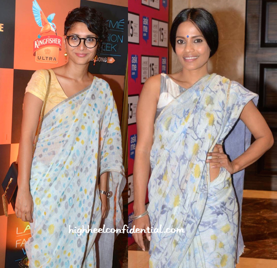 Priyanka Bose And Kiran Rao In Anavila Saris At The Designer's Show At Lakme Fashion Week 2015-2