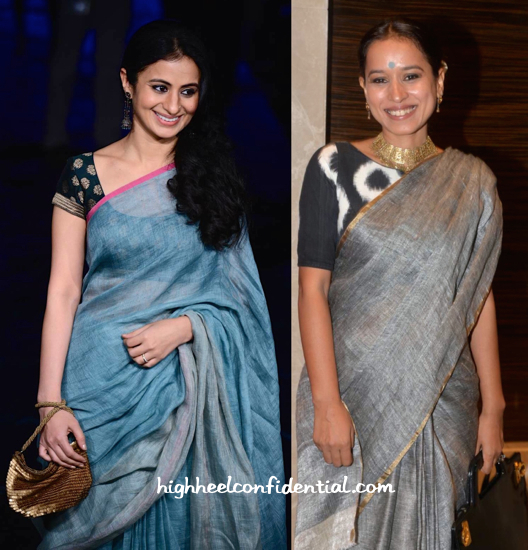 Rasika Dugal And Tillotama Shome Attend Anavila's Show At LFW Wearing Saris By The Designer-2
