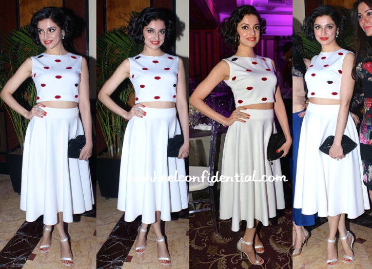 Divya Khosla Kumar In Ash Haute Couture At Anmol Jewellers Event