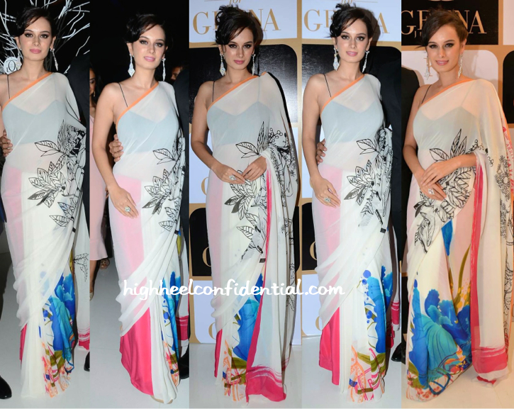 Evelyn Sharma In Gauri Khan For Satya Paul Sari At K Jo For Gehna Limited Edition Holiday Collection Launch-1