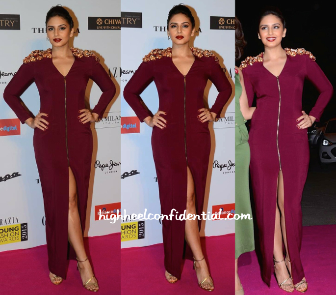 Huma Qureshi in Nikhil Thampi At Grazia Young Fashion Awards 2015-1