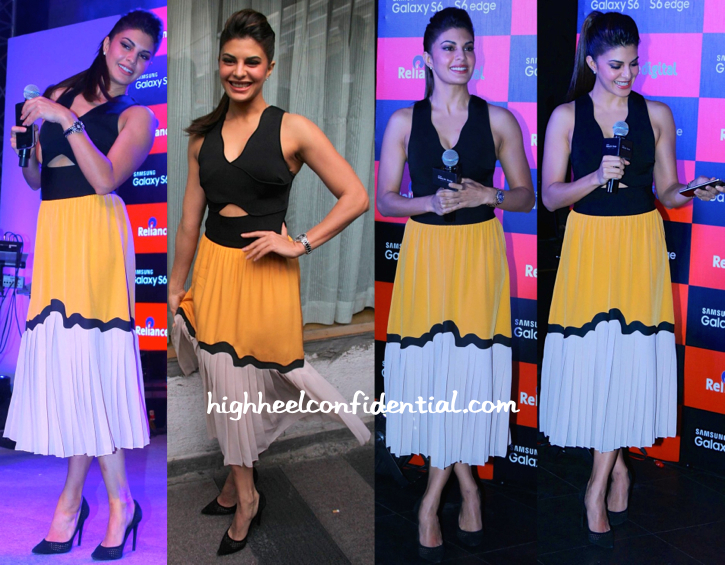 Jacqueline Fernandez In Issa At Samsung S6 Launch-2