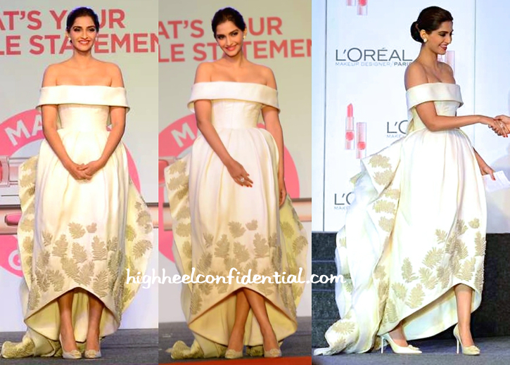 Sonam Kapoor In Ashi Studio And Nirav Modi Jewels At L'Oréal Paris Cannes Collection Launch-1