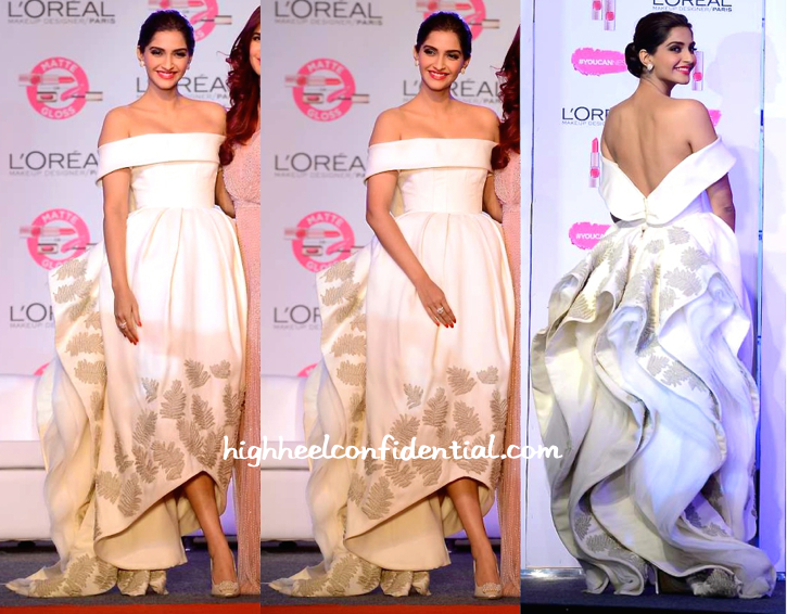 Sonam Kapoor In Ashi Studio And Nirav Modi Jewels At L'Oréal Paris Cannes Collection Launch-2