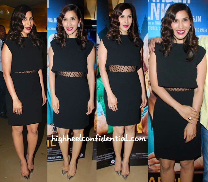 Sophie Choudry In Sandro At 'Dharam Sankat Mein' Screening