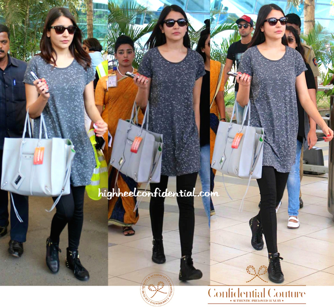 Anushka Sharma (With A Balenciaga Tote In Tow) Photographed At Mumbai Airport