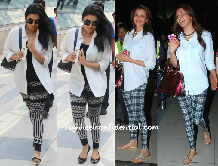 Asin And Kajal Agarwal Photographed At Mumbai Airport-1