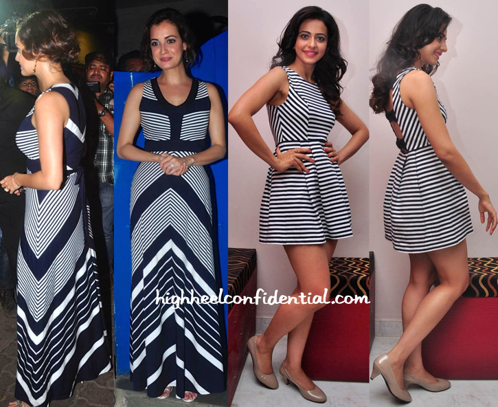 Dia Mirza (At Piku Success Bash) And Rakul Preet (At A Press Meet ) Do Stripes-1