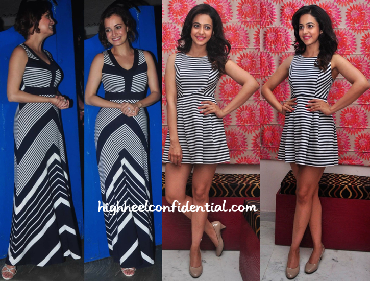 Dia Mirza (At Piku Success Bash) And Rakul Preet (At A Press Meet ) Do Stripes-2