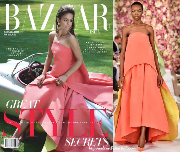 Natasha Poonawala Covers Harper's Bazaar June 2015 Issue Wearing Oscar de la Renta