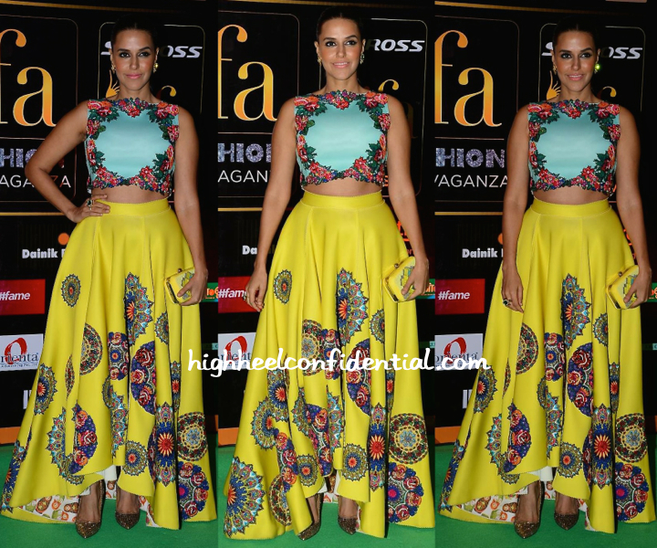 Neha Dhupia In Neha Agarwal At IIFA Fashion Extravaganza 2015