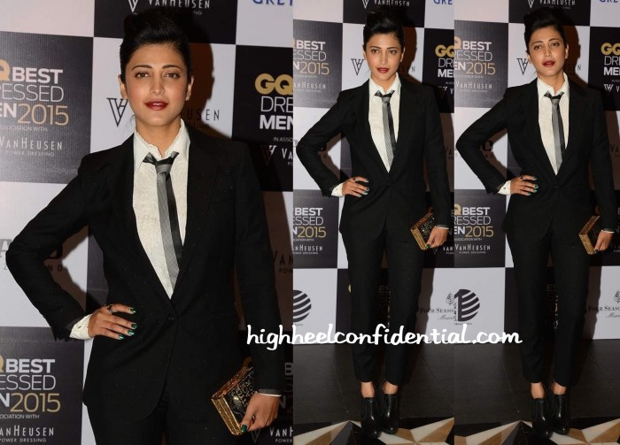 Shruti Haasan In Giorgio Armani And Judith Leiber At GQ Best Dressed Event 2015