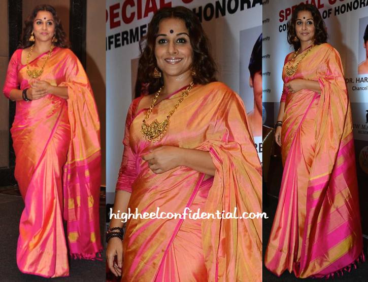 Vidya Balan Wears A Gaurang Sari To Receive Her Honorary Doctorate From Rai University-1