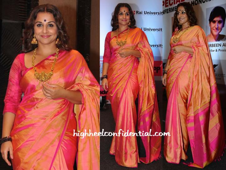 Vidya Balan Wears A Gaurang Sari To Receive Her Honorary Doctorate From Rai University-2