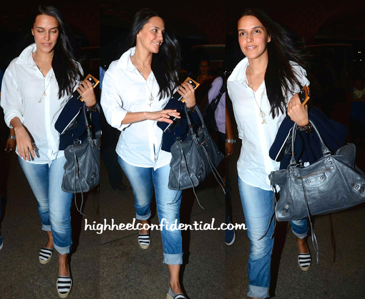 neha dhupia leaves for iifa 2015 with a balenciaga bag