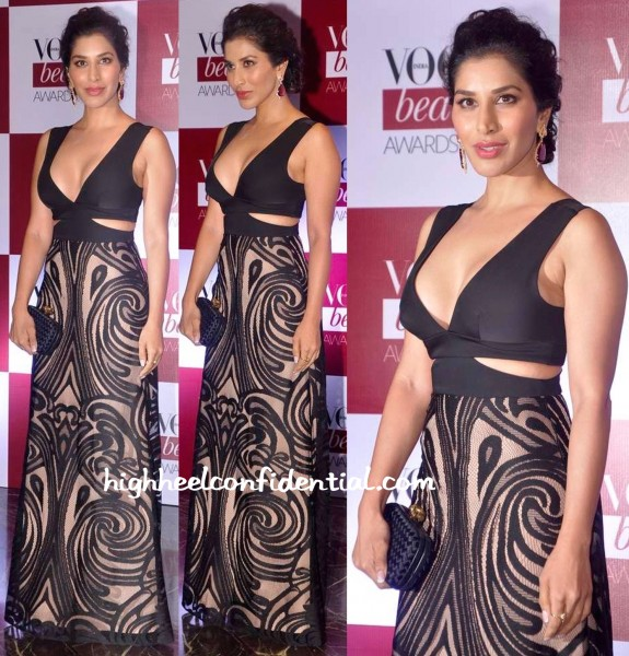 Sophie Choudry In BCBG And Farah Khan Ali Fine Jewelry At Vogue Beauty Awards 2015