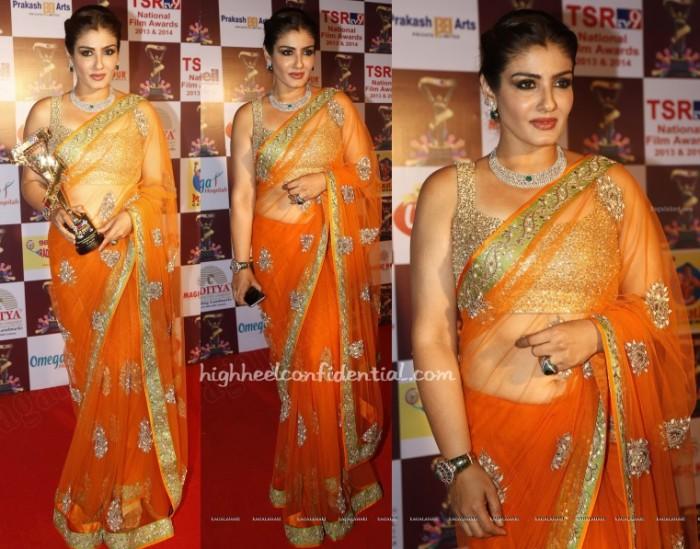 raveena-tandon-shyamal-bhumika-tsr-tv9-awards-2015