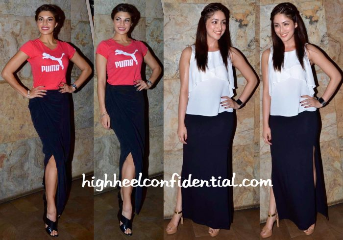 Jacqueline Fernandez And Yami Gautam At Bangistan Screening-1