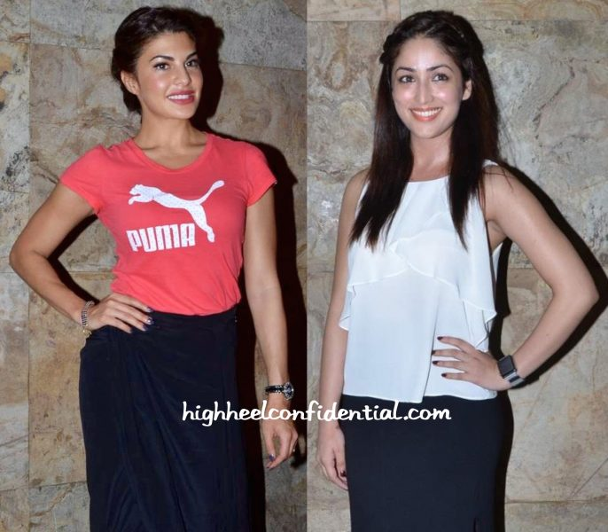 Jacqueline Fernandez And Yami Gautam At Bangistan Screening-2
