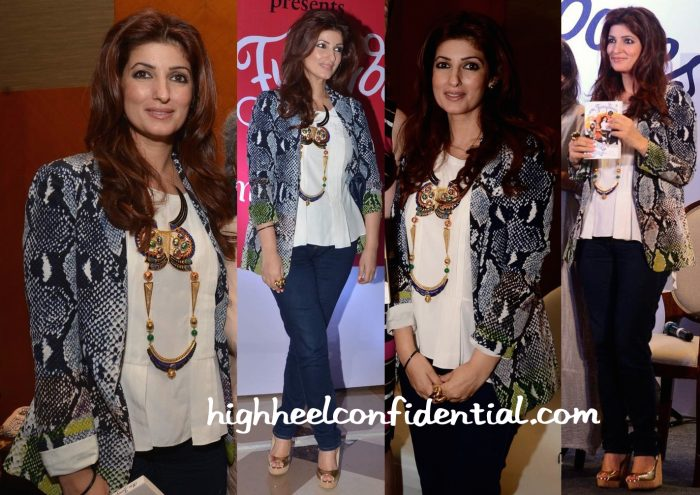 Twinkle Khanna Wears DvF And Manish Arora X Amrapali To Her Book Launch-1
