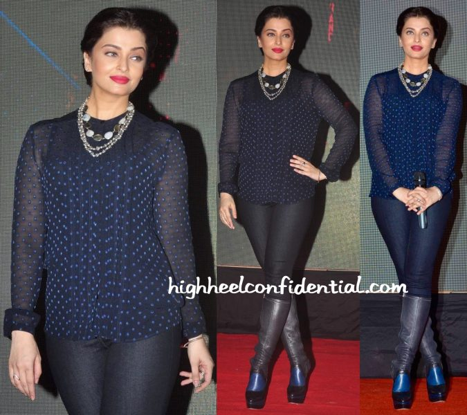 Aishwarya Rai Bachchan In Burberry And J Brand At Jazbaa Promotions-2