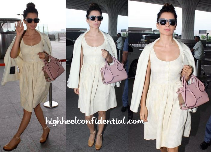 Kangana Ranaut Photographed In Prada And Burberry At The Mumbai Airport-1
