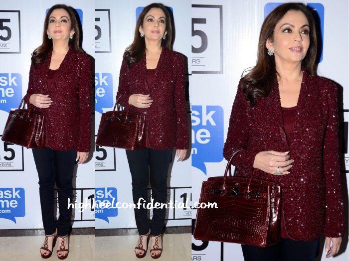 Nita Ambani In Monisha Jaising At Lakme Fashion Week Winter:Festive 2015